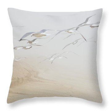 Pastel Gulls In Fog Throw Pillow