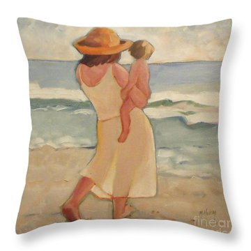 Pastel Morning Beach Walk With Mother And Baby Throw Pillow by Mary Hubley