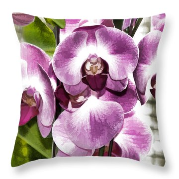 Pastel Orchids Throw Pillow