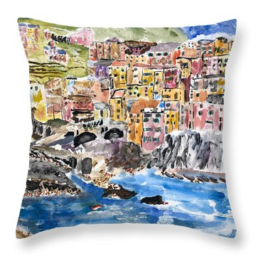 Pastel Patchwork Village Throw Pillow
