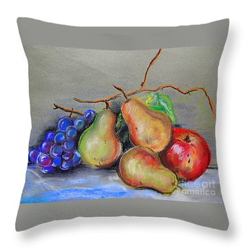 Pastel Pear Still Life Throw Pillow by Michael Hoard