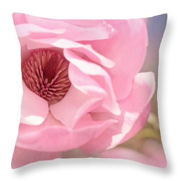 Pastel Pink Petals And Paint Throw Pillow by Lisa Knechtel