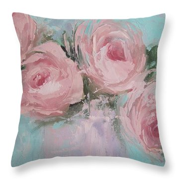 Pastel Pink Roses Painting Throw Pillow by Chris Hobel