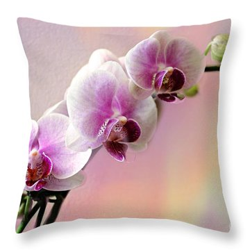 Pastel Rainbow Orchid Throw Pillow by Judy Palkimas