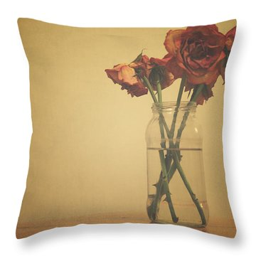 Pastel Roses Throw Pillow