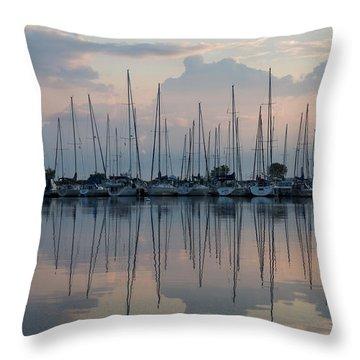 Pastel Sailboats Reflections At Dusk Throw Pillow