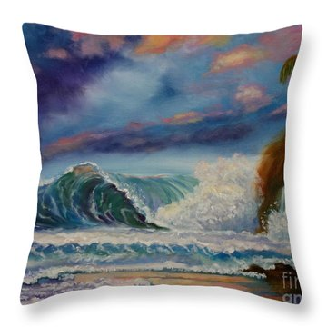 Throw Pillow featuring the painting Pastel Sunset by Jenny Lee