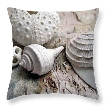 Pastel Urchin White Corals Birch Bark Throw Pillow by Danielle  Parent