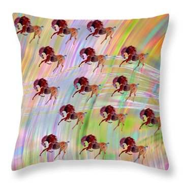 Throw Pillow featuring the digital art Pastel With Horses by Mary Armstrong