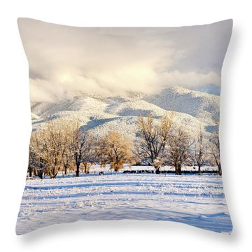 Pasture Land Covered In Snow With Taos Throw Pillow