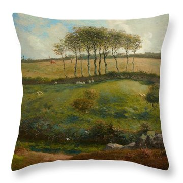 Pasture Near Cherbourg Throw Pillow by Jean-Francois Millet