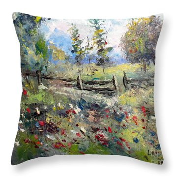 Pasture With Fence Throw Pillow by Lee Piper