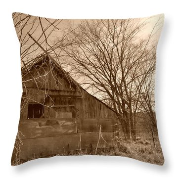 Patchwork Barn Throw Pillow