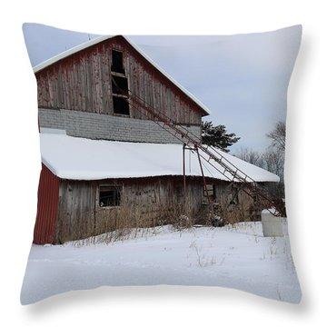 Patchwork Barn Throw Pillow by Scott Kingery