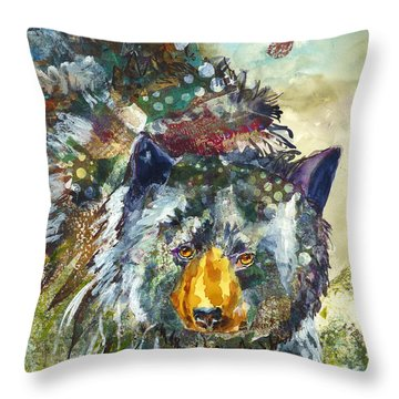 Throw Pillow featuring the mixed media Patchwork Bear by P Maure Bausch