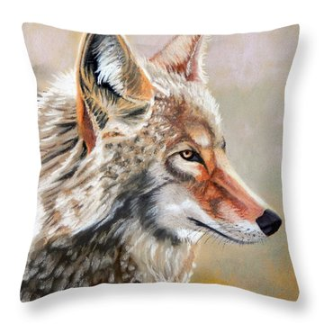Patchwork Coyote Throw Pillow by Tanya Provines