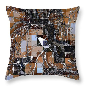 Patchwork Crows Throw Pillow