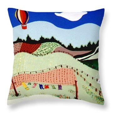 Patchwork Farmland Throw Pillow