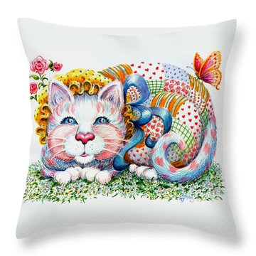 Patchwork Patty Catty Throw Pillow by Dee Davis