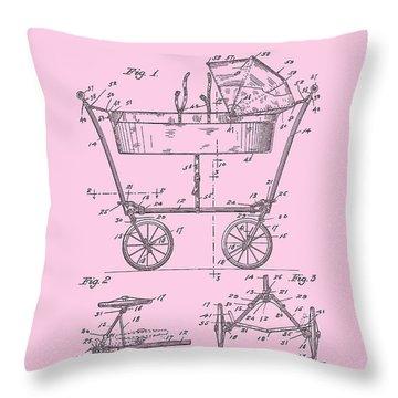 Patent Art Baby Carriage 1922 Mahr Design Pink Throw Pillow