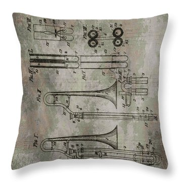 Patent Art Trombone Throw Pillow by Dan Sproul