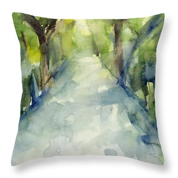 Path Conservatory Garden Central Park Watercolor Painting Throw Pillow by Beverly Brown