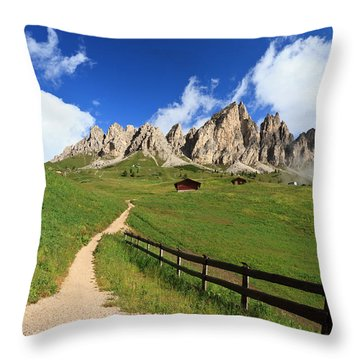 Throw Pillow featuring the photograph path in Gardena pass by Antonio Scarpi