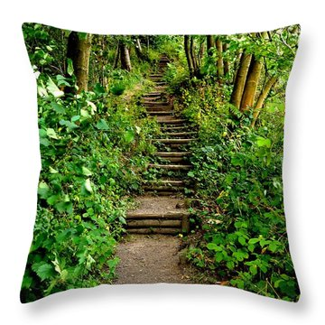 Path Into The Forest Throw Pillow