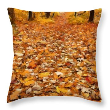 Path Of Fallen Leaves Throw Pillow