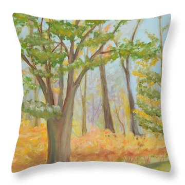 Path Of Trees Throw Pillow