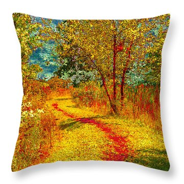 Path Through The Woods Throw Pillow by William Beuther