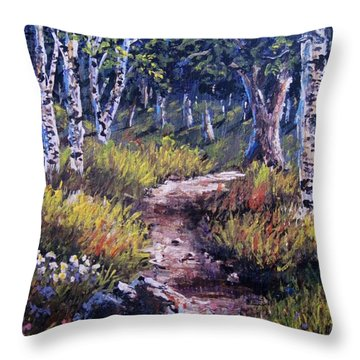 Throw Pillow featuring the painting Path Thru The Birches by Megan Walsh