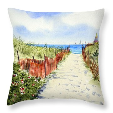 Path To East Beach-watch Hill Ri Throw Pillow