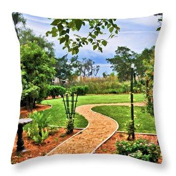 Garden Path To Wild Marsh Throw Pillow
