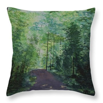 Throw Pillow featuring the painting Path To The River by Martin Howard