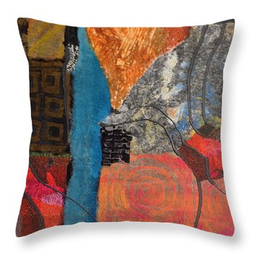 Throw Pillow featuring the mixed media Paths by Catherine Redmayne
