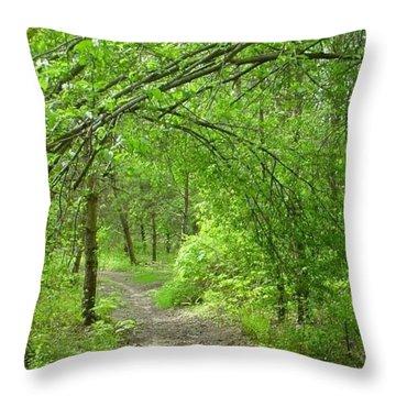 Pathway Through Nature's Bower Throw Pillow