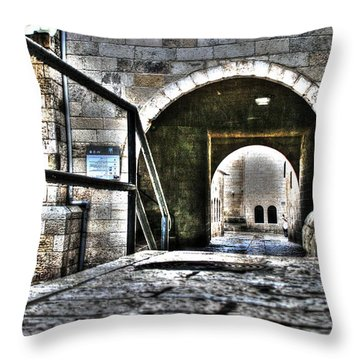 Throw Pillow featuring the photograph Pathway Through Old Jerusalem by Doc Braham