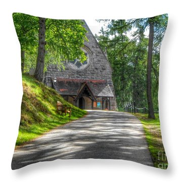 Pathway To Crathie Church Throw Pillow