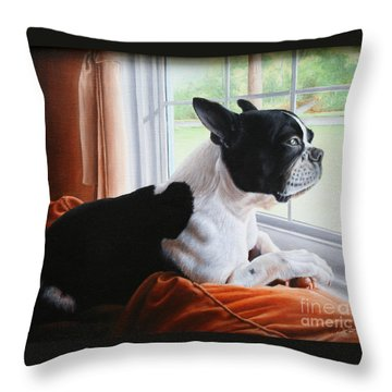 Throw Pillow featuring the painting Patiently Waiting by Mike Ivey
