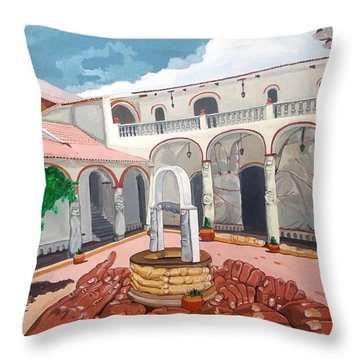 Throw Pillow featuring the painting Patio Colonial by Lazaro Hurtado