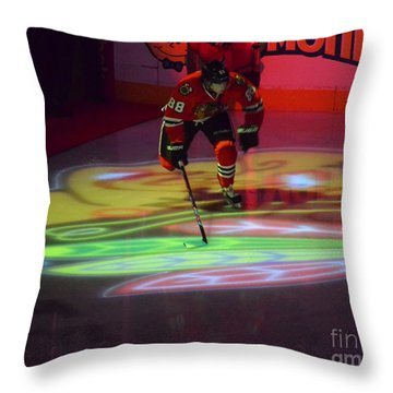 Patrick Kane Takes The Ice Throw Pillow