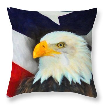 Patriotic American Flag And Eagle Throw Pillow by Kenny Francis
