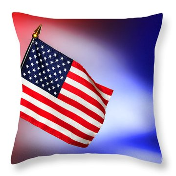 Patriotic American Flag Throw Pillow by Olivier Le Queinec