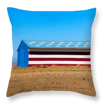 Patriotic Barn Throw Pillow