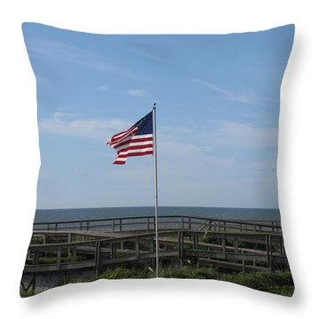 Patriotic Beach View Throw Pillow by Ellen Meakin