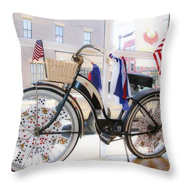 Patriotic Bicycle Throw Pillow by Cindy Archbell