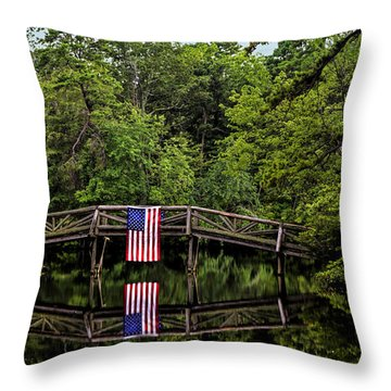 Patriotic Bridge Throw Pillow