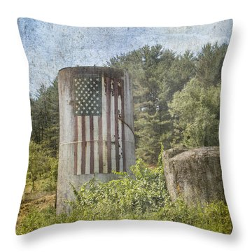 Patriotic Farm Silo Throw Pillow