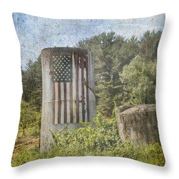 Patriotic Farm Silo Throw Pillow by Betty  Pauwels